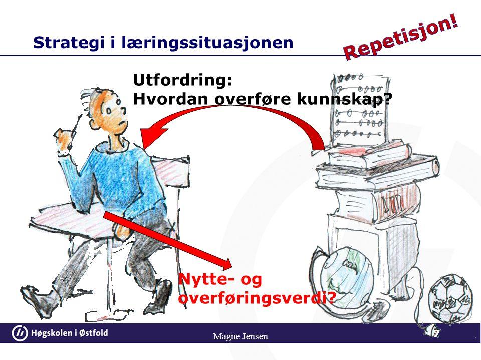 Strategi i læringssituasjonen 7 Magne Jensen Utfordring: Hvordan overføre kunnskap? Nytte- og overføringsverdi?