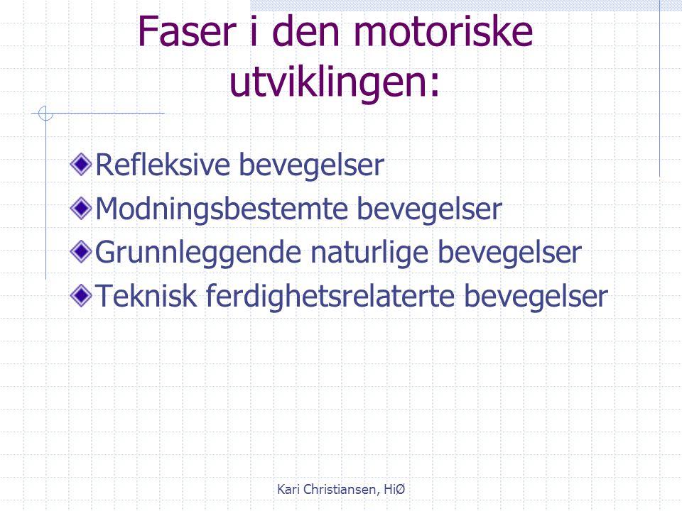 Kari Christiansen, HiØ Motorisk læring Fylogenetiske grunnformer: Grunnformer som er medfødte og modningsbestemt: rulle, krype, krabbe, gå Ontogenetis