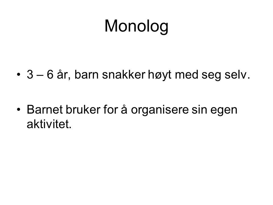 Monolog 3 – 6 år, barn snakker høyt med seg selv. Barnet bruker for å organisere sin egen aktivitet.