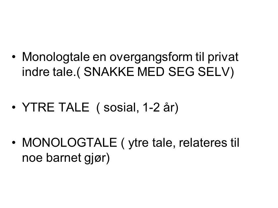 Monologtale en overgangsform til privat indre tale.( SNAKKE MED SEG SELV) YTRE TALE ( sosial, 1-2 år) MONOLOGTALE ( ytre tale, relateres til noe barne