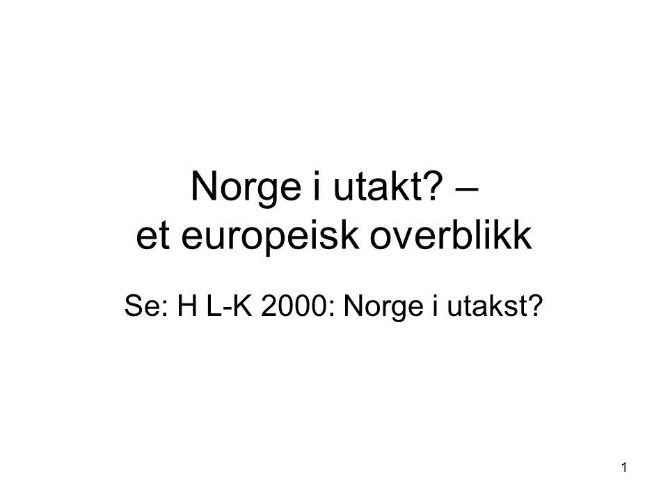 1 Norge i utakt – et europeisk overblikk Se: H L-K 2000: Norge i utakst