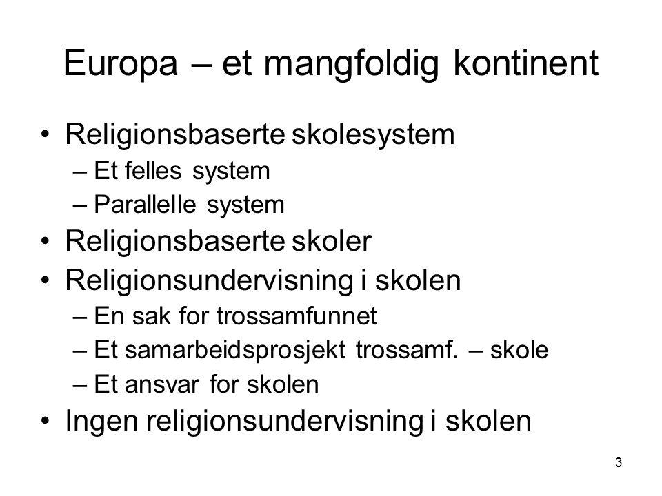 3 Europa – et mangfoldig kontinent Religionsbaserte skolesystem –Et felles system –Parallelle system Religionsbaserte skoler Religionsundervisning i skolen –En sak for trossamfunnet –Et samarbeidsprosjekt trossamf.