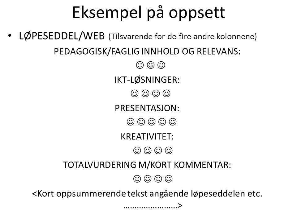 Eksempel på oppsett LØPESEDDEL/WEB (Tilsvarende for de fire andre kolonnene) PEDAGOGISK/FAGLIG INNHOLD OG RELEVANS: IKT-LØSNINGER: PRESENTASJON: KREATIVITET: TOTALVURDERING M/KORT KOMMENTAR:
