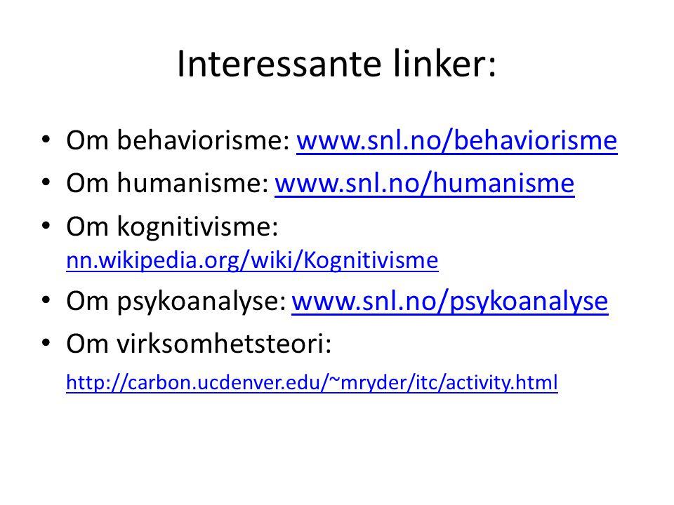 Interessante linker: Om behaviorisme: www.snl.no/behaviorismewww.snl.no/behaviorisme Om humanisme: www.snl.no/humanismewww.snl.no/humanisme Om kogniti