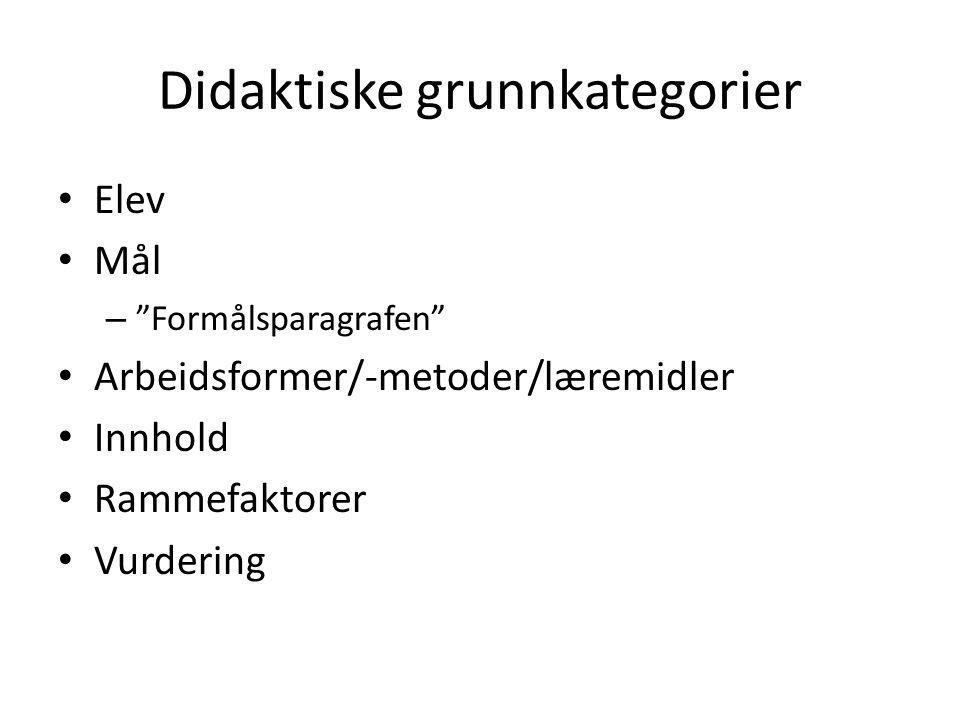 "Didaktiske grunnkategorier Elev Mål – ""Formålsparagrafen"" Arbeidsformer/-metoder/læremidler Innhold Rammefaktorer Vurdering"