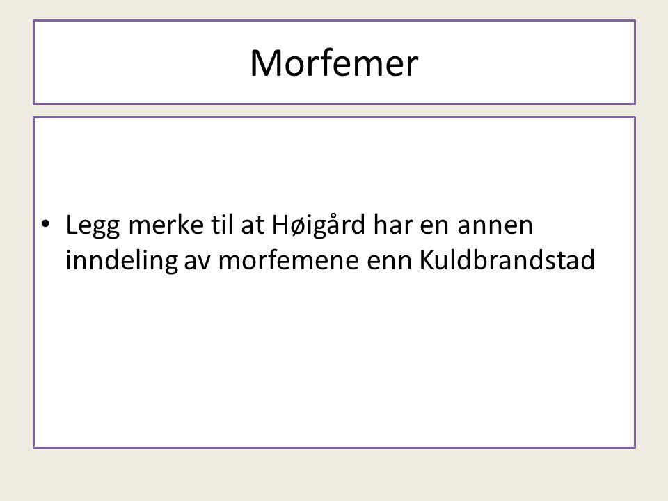 Morfemer Legg merke til at Høigård har en annen inndeling av morfemene enn Kuldbrandstad