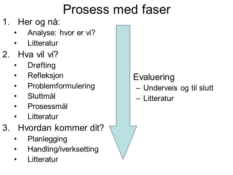 Prosess med faser 1.Her og nå: Analyse: hvor er vi? Litteratur 2.Hva vil vi? Drøfting Refleksjon Problemformulering Sluttmål Prosessmål Litteratur 3.H