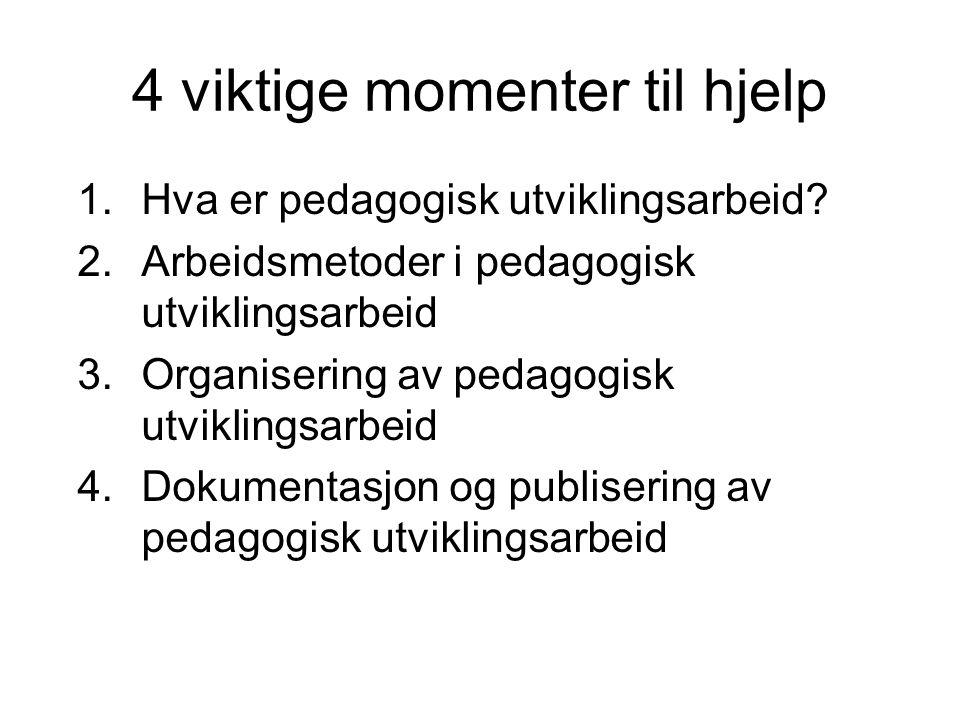 4 viktige momenter til hjelp 1.Hva er pedagogisk utviklingsarbeid? 2.Arbeidsmetoder i pedagogisk utviklingsarbeid 3.Organisering av pedagogisk utvikli