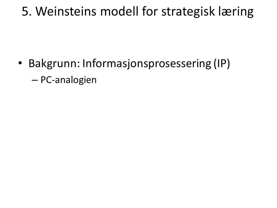 5. Weinsteins modell for strategisk læring Bakgrunn: Informasjonsprosessering (IP) – PC-analogien