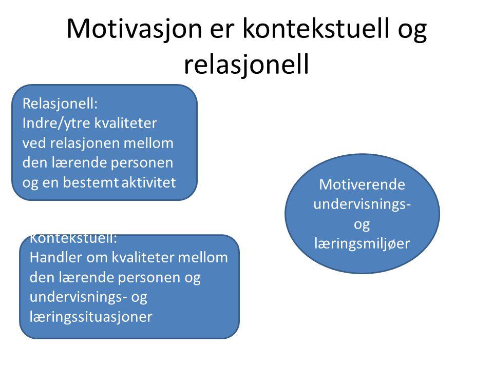 Motivasjon er kontekstuell og relasjonell Relasjonell: Indre/ytre kvaliteter ved relasjonen mellom den lærende personen og en bestemt aktivitet Kontek
