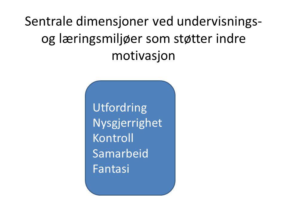 Sentrale dimensjoner ved undervisnings- og læringsmiljøer som støtter indre motivasjon Utfordring Nysgjerrighet Kontroll Samarbeid Fantasi
