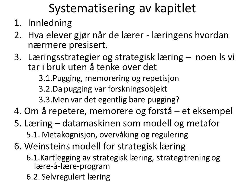Systematisering av kapitlet 1.Innledning 2.Hva elever gjør når de lærer - læringens hvordan nærmere presisert. 3.Læringsstrategier og strategisk lærin