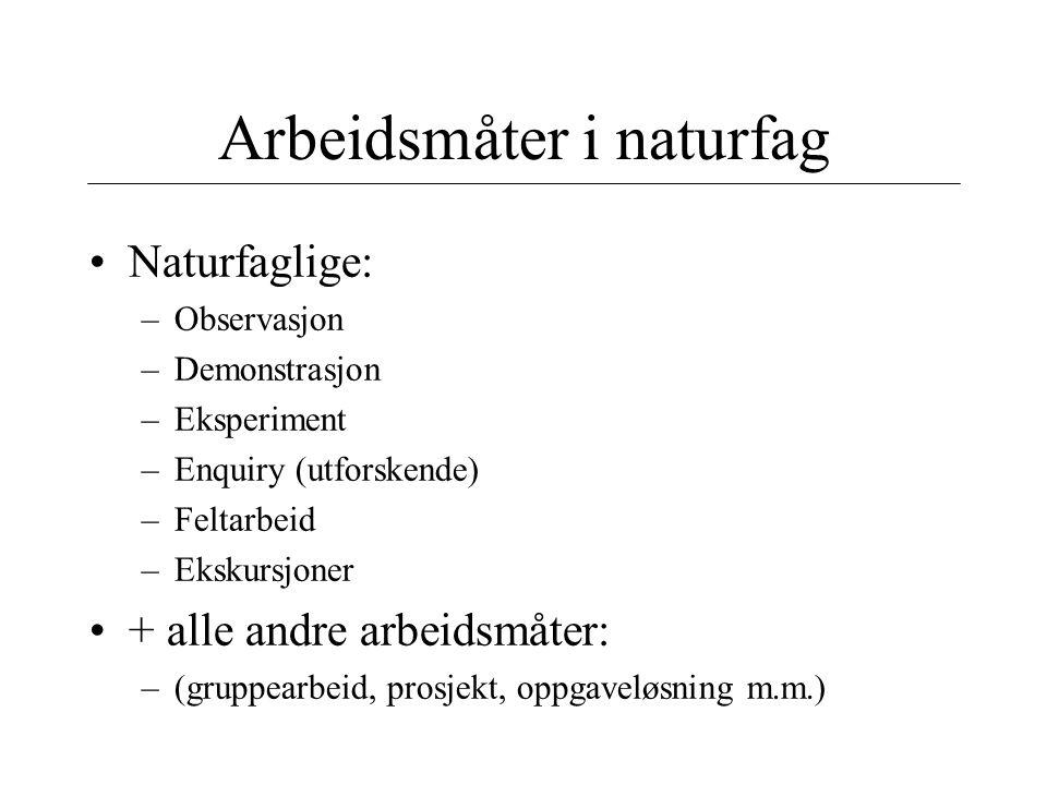 Arbeidsmåter i naturfag Naturfaglige: –Observasjon –Demonstrasjon –Eksperiment –Enquiry (utforskende) –Feltarbeid –Ekskursjoner + alle andre arbeidsmå
