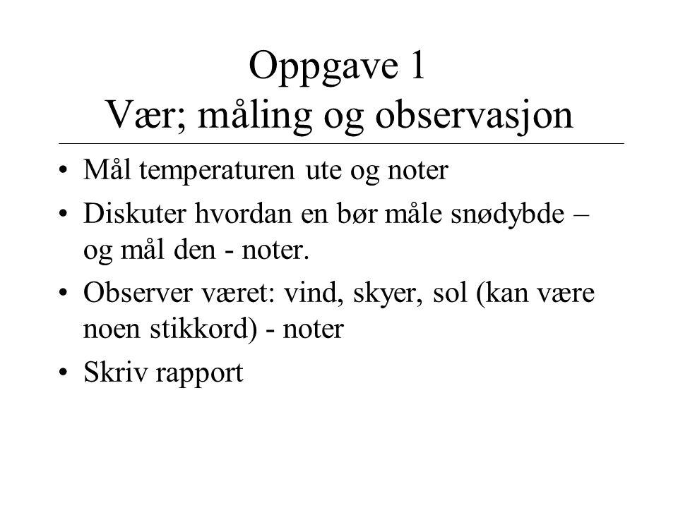 Oppgave 1 Vær; måling og observasjon Mål temperaturen ute og noter Diskuter hvordan en bør måle snødybde – og mål den - noter. Observer været: vind, s