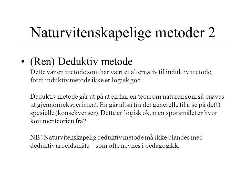 Naturvitenskapelige metoder 2 (Ren) Deduktiv metode Dette var en metode som har vært et alternativ til induktiv metode, fordi induktiv metode ikke er