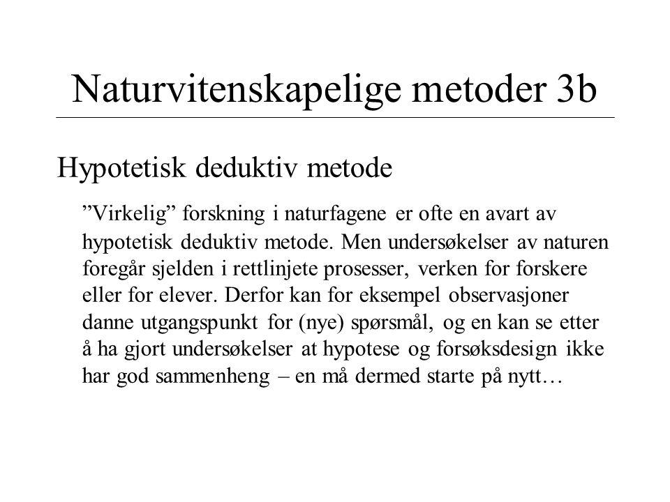 """Naturvitenskapelige metoder 3b Hypotetisk deduktiv metode """"Virkelig"""" forskning i naturfagene er ofte en avart av hypotetisk deduktiv metode. Men under"""