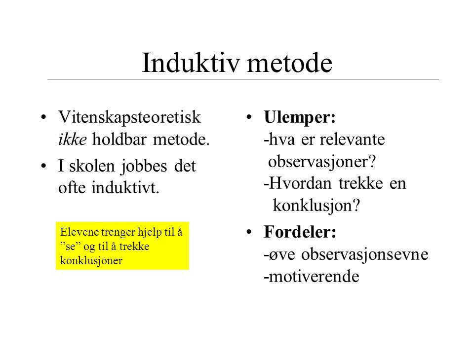 Induktiv metode Vitenskapsteoretisk ikke holdbar metode. I skolen jobbes det ofte induktivt. Ulemper: -hva er relevante observasjoner? -Hvordan trekke