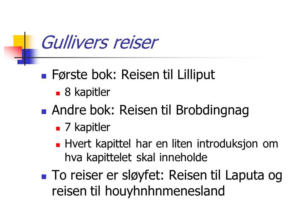 Gullivers reiser Første bok: Reisen til Lilliput 8 kapitler Andre bok: Reisen til Brobdingnag 7 kapitler Hvert kapittel har en liten introduksjon om h
