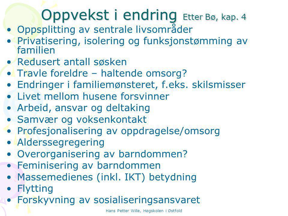 Hans Petter Wille, Høgskolen i Østfold Oppvekst i endring Etter Bø, kap.