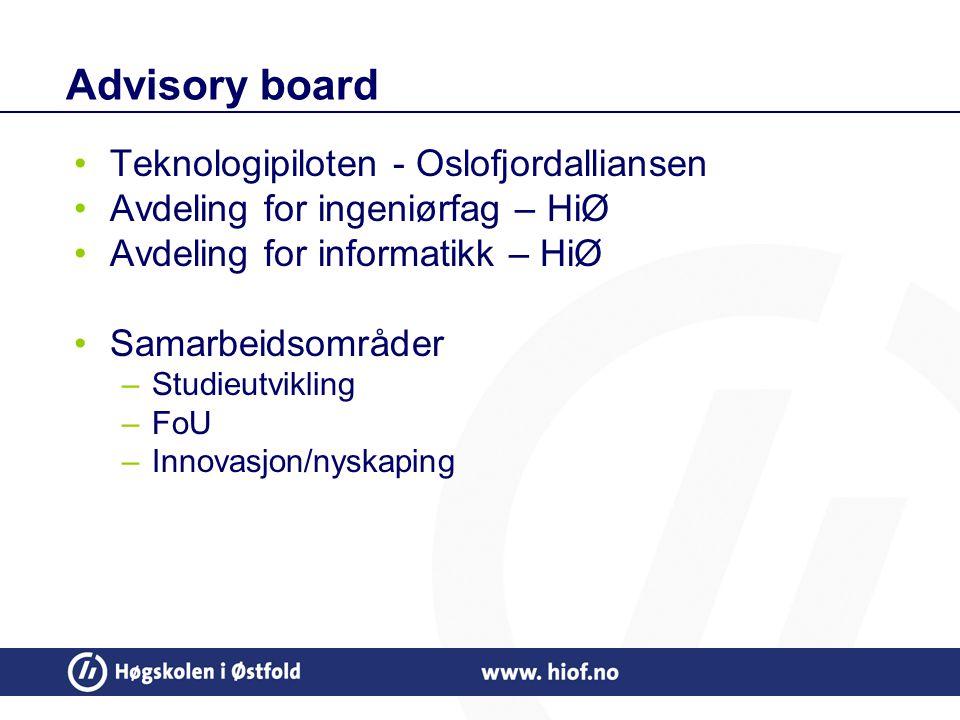 Advisory board Teknologipiloten - Oslofjordalliansen Avdeling for ingeniørfag – HiØ Avdeling for informatikk – HiØ Samarbeidsområder –Studieutvikling –FoU –Innovasjon/nyskaping