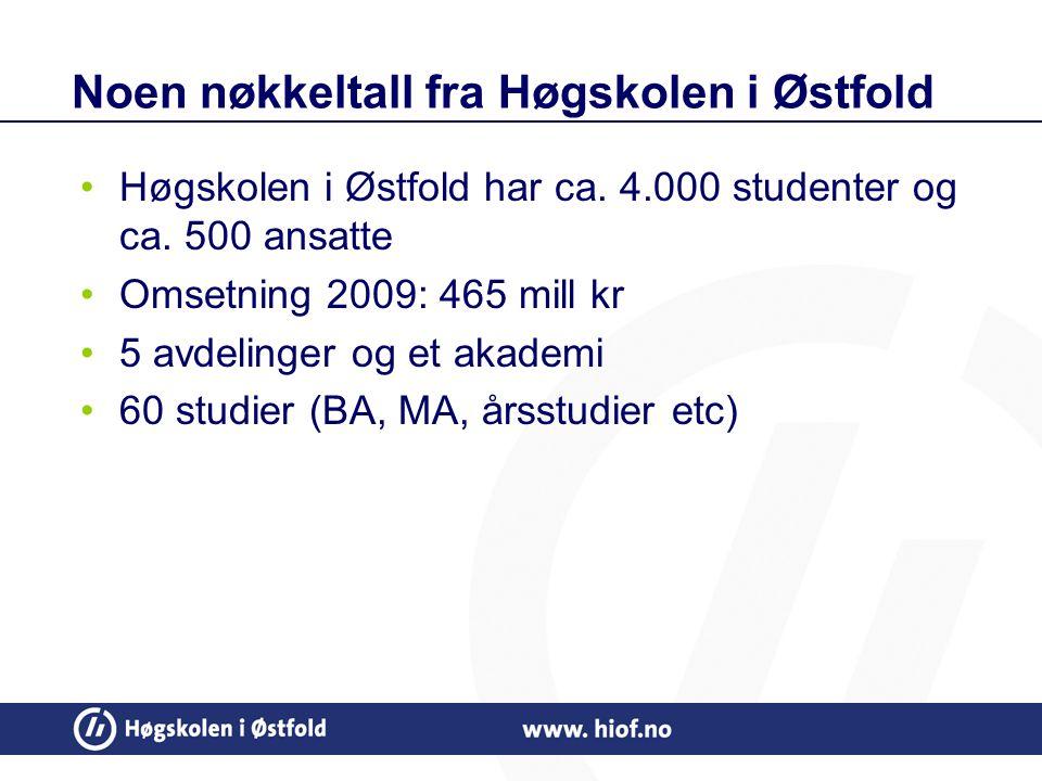 Noen nøkkeltall fra Høgskolen i Østfold Høgskolen i Østfold har ca.