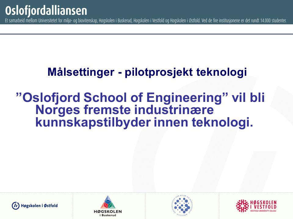 Målsettinger - pilotprosjekt teknologi Oslofjord School of Engineering vil bli Norges fremste industrinære kunnskapstilbyder innen teknologi.