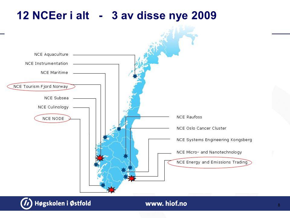8 12 NCEer i alt - 3 av disse nye 2009