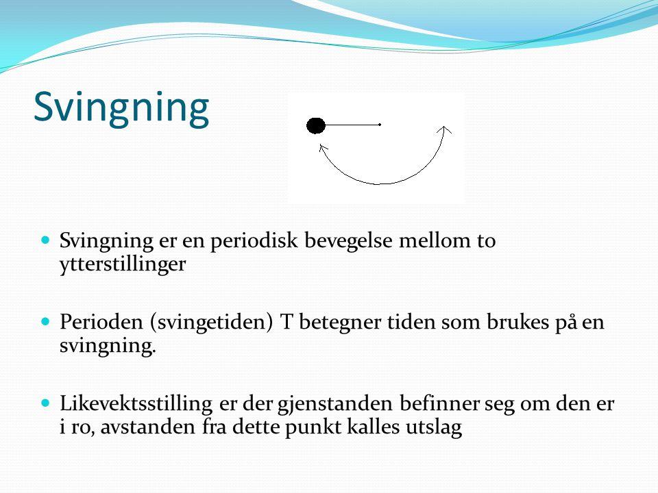 Svingning Svingning er en periodisk bevegelse mellom to ytterstillinger Perioden (svingetiden) T betegner tiden som brukes på en svingning.