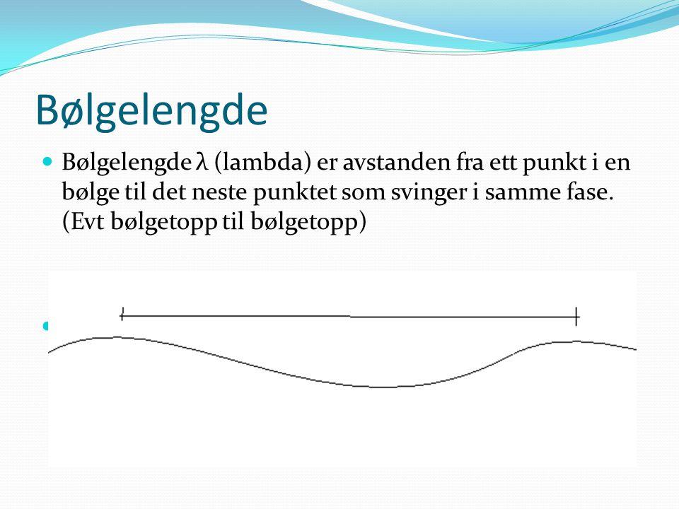 Bølgelengde Bølgelengde λ (lambda) er avstanden fra ett punkt i en bølge til det neste punktet som svinger i samme fase.