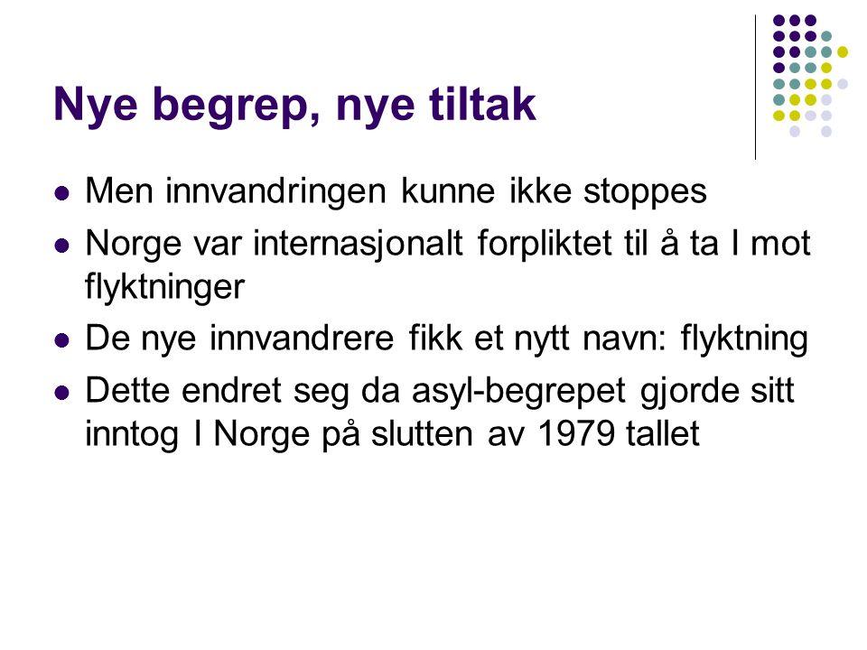 Nye begrep, nye tiltak Men innvandringen kunne ikke stoppes Norge var internasjonalt forpliktet til å ta I mot flyktninger De nye innvandrere fikk et nytt navn: flyktning Dette endret seg da asyl-begrepet gjorde sitt inntog I Norge på slutten av 1979 tallet