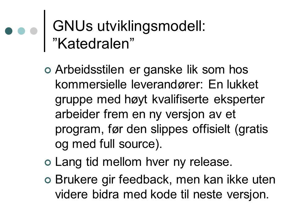 GNU-produkter Editorer (emacs), Unix-verktøy av alle slag, kompilatorer, komplette programmeringsomgivelser, bildebehandling...