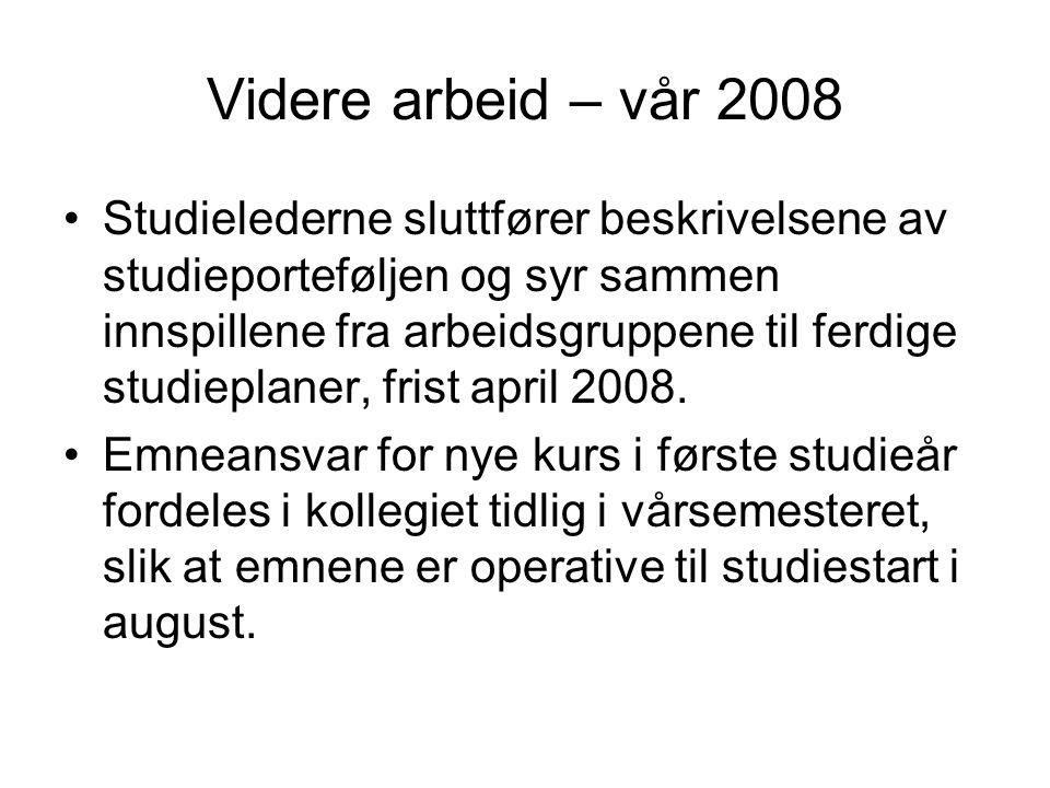 Videre arbeid – vår 2008 Studielederne sluttfører beskrivelsene av studieporteføljen og syr sammen innspillene fra arbeidsgruppene til ferdige studieplaner, frist april 2008.