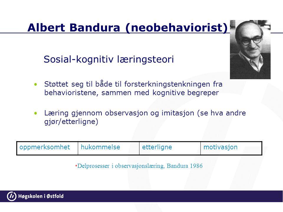 Albert Bandura (neobehaviorist) Sosial-kognitiv læringsteori Støttet seg til både til forsterkningstenkningen fra behavioristene, sammen med kognitive begreper Læring gjennom observasjon og imitasjon (se hva andre gjør/etterligne) oppmerksomhethukommelseetterlignemotivasjon Delprosesser i observasjonslæring, Bandura 1986