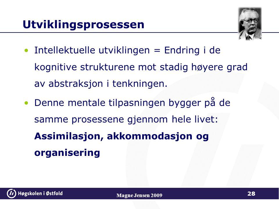 Magne Jensen 2009 28 Utviklingsprosessen Intellektuelle utviklingen = Endring i de kognitive strukturene mot stadig høyere grad av abstraksjon i tenkningen.