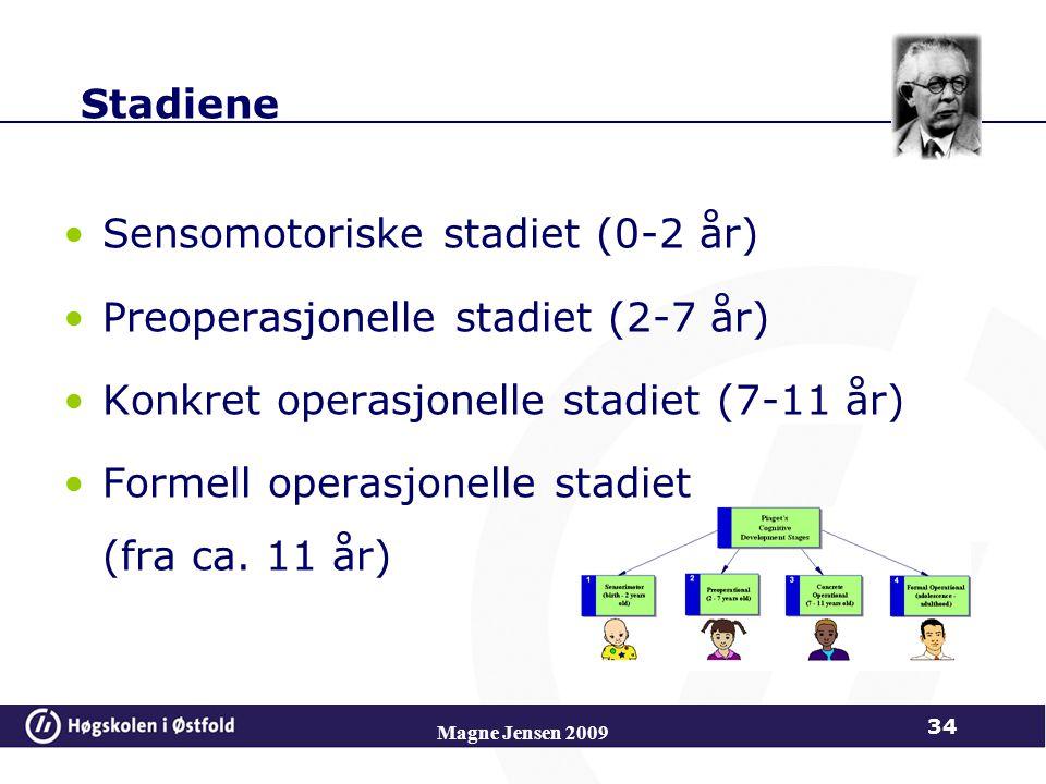 Magne Jensen 2009 34 Stadiene Sensomotoriske stadiet (0-2 år) Preoperasjonelle stadiet (2-7 år) Konkret operasjonelle stadiet (7-11 år) Formell operasjonelle stadiet (fra ca.