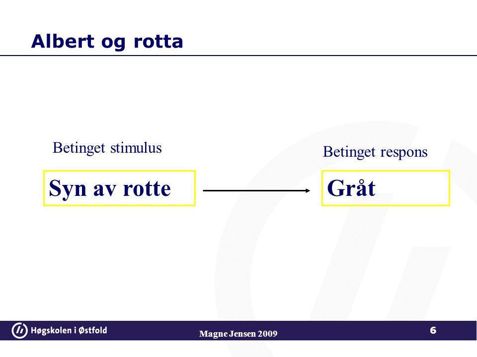 Albert og rotta Syn av rotteGråt Betinget stimulus Betinget respons Magne Jensen 2009 6