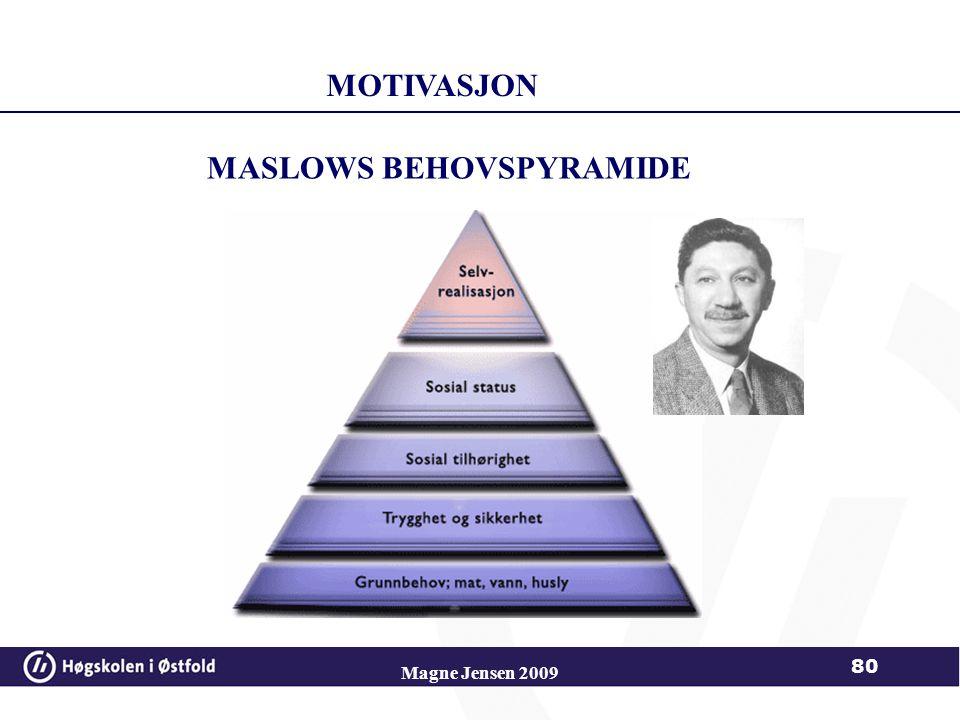 Magne Jensen 2009 80 MASLOWS BEHOVSPYRAMIDE MOTIVASJON