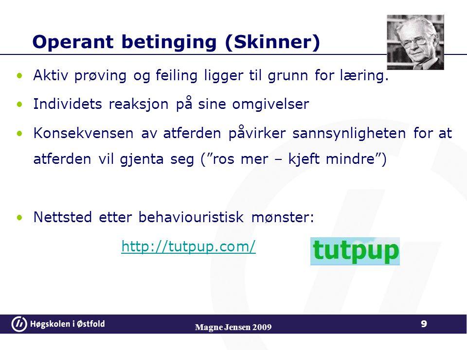Operant betinging (Skinner) Aktiv prøving og feiling ligger til grunn for læring.