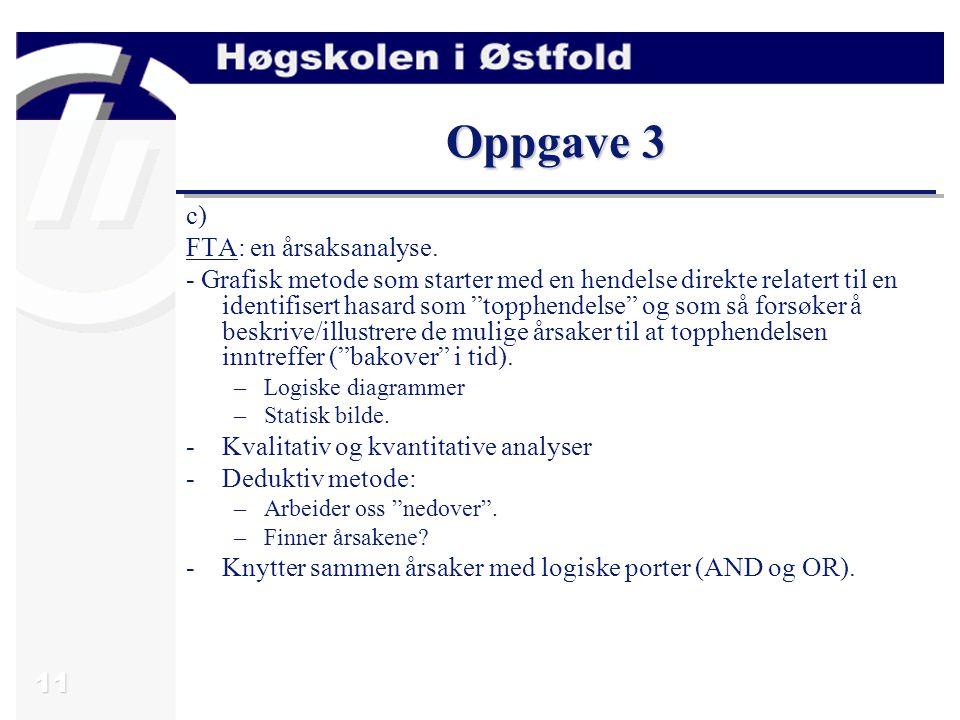 """11 Oppgave 3 c) FTA: en årsaksanalyse. - Grafisk metode som starter med en hendelse direkte relatert til en identifisert hasard som """"topphendelse"""" og"""