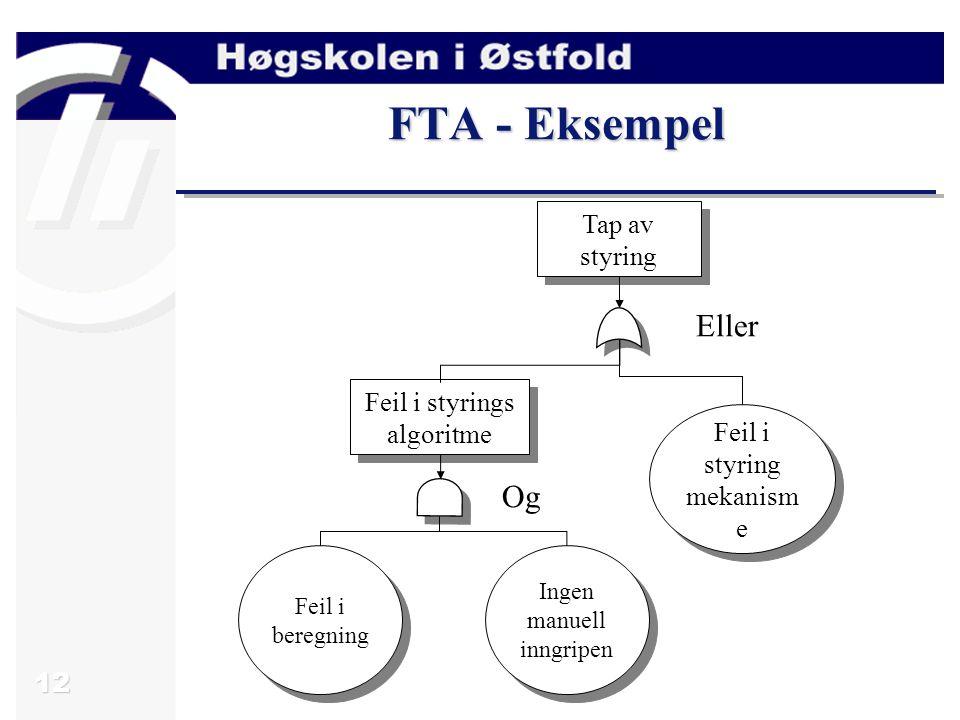 12 FTA - Eksempel Tap av styring Feil i styrings algoritme Feil i beregning Ingen manuell inngripen Feil i styring mekanism e Feil i styring mekanism
