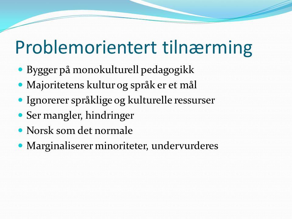 Problemorientert tilnærming Bygger på monokulturell pedagogikk Majoritetens kultur og språk er et mål Ignorerer språklige og kulturelle ressurser Ser