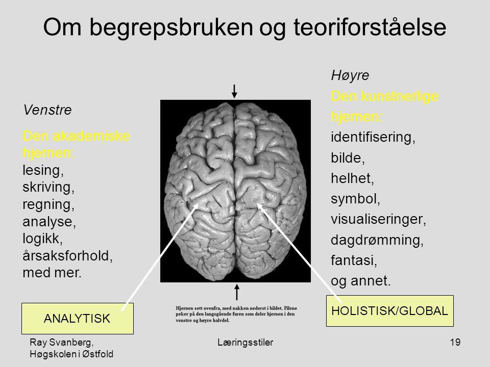Ray Svanberg, Høgskolen i Østfold Læringsstiler19 Om begrepsbruken og teoriforståelse Høyre Den kunstnerlige hjernen: identifisering, bilde, helhet, symbol, visualiseringer, dagdrømming, fantasi, og annet.