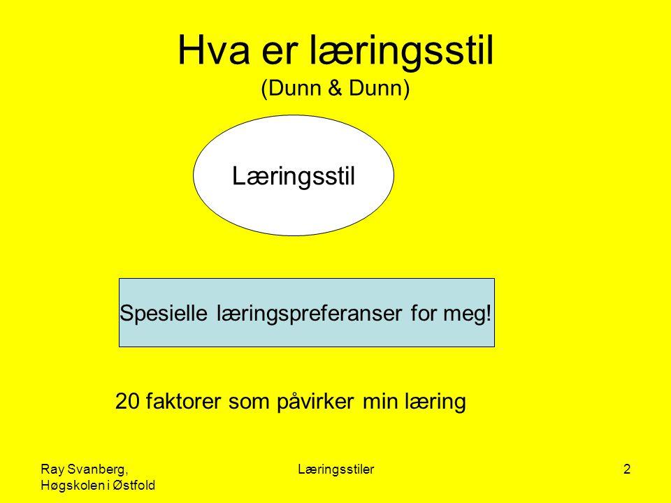 Ray Svanberg, Høgskolen i Østfold Læringsstiler2 Hva er læringsstil (Dunn & Dunn) Læringsstil Spesielle læringspreferanser for meg! 20 faktorer som på