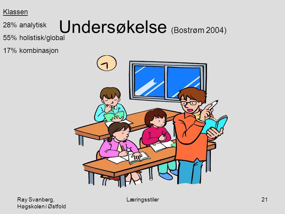 Ray Svanberg, Høgskolen i Østfold Læringsstiler21 Undersøkelse (Bostrøm 2004) Klassen 28% analytisk 55% holistisk/global 17% kombinasjon