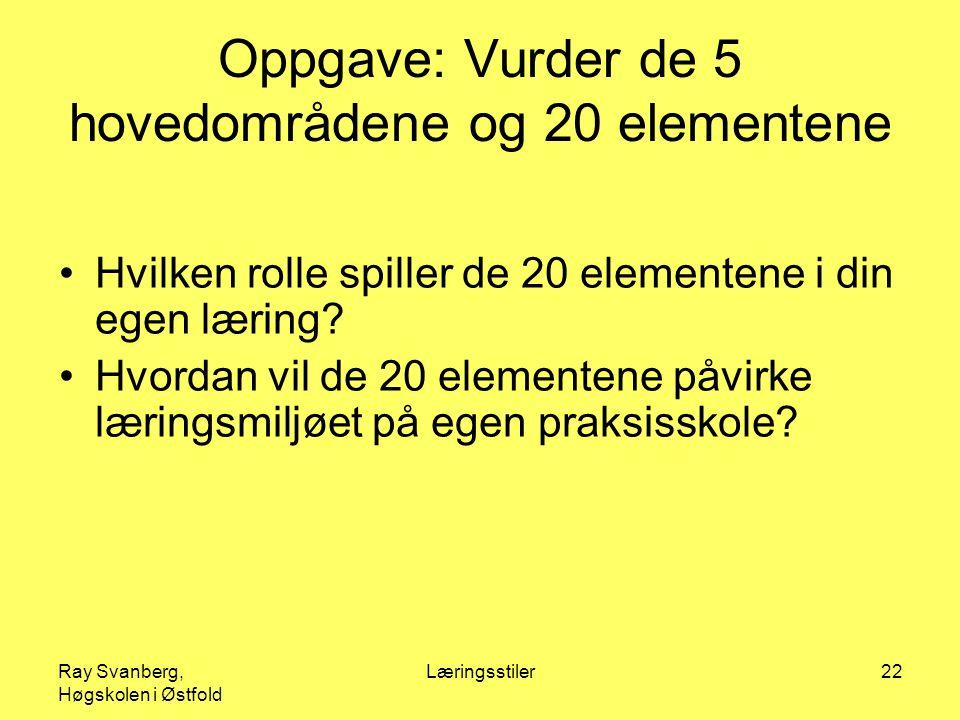 Ray Svanberg, Høgskolen i Østfold Læringsstiler22 Oppgave: Vurder de 5 hovedområdene og 20 elementene Hvilken rolle spiller de 20 elementene i din egen læring.