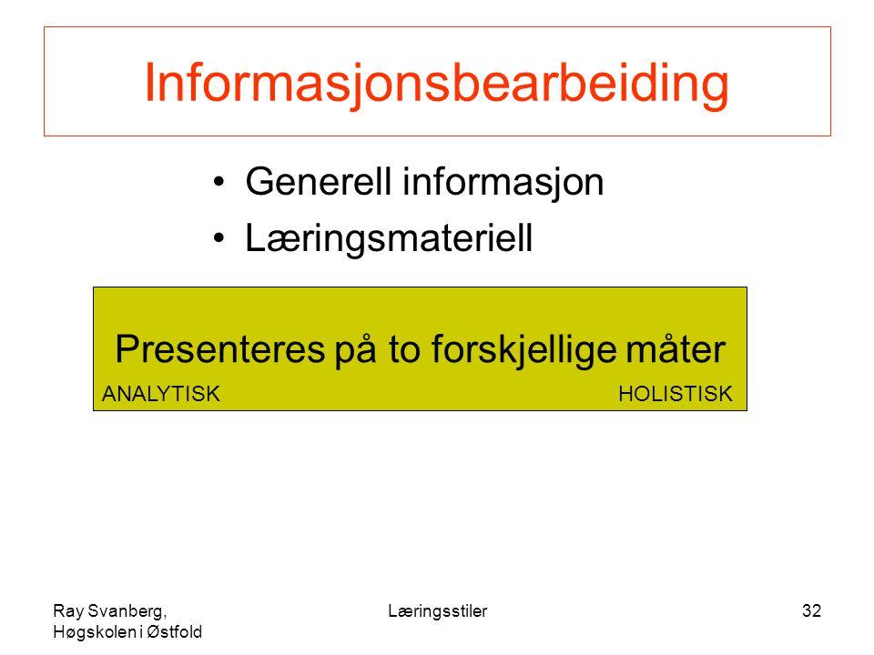 Ray Svanberg, Høgskolen i Østfold Læringsstiler32 Informasjonsbearbeiding Generell informasjon Læringsmateriell Presenteres på to forskjellige måter ANALYTISKHOLISTISK