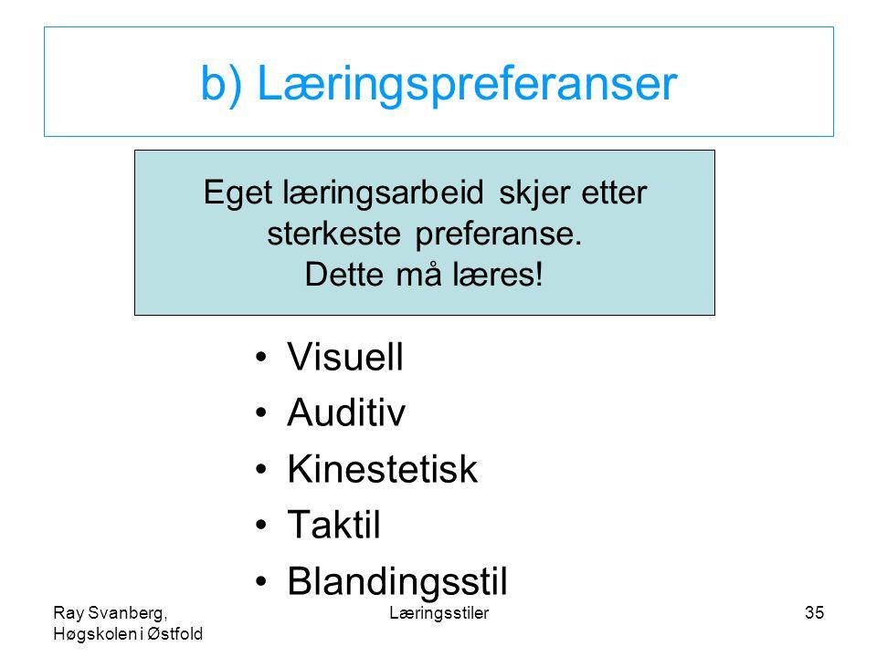 Ray Svanberg, Høgskolen i Østfold Læringsstiler35 b) Læringspreferanser Visuell Auditiv Kinestetisk Taktil Blandingsstil Eget læringsarbeid skjer etter sterkeste preferanse.