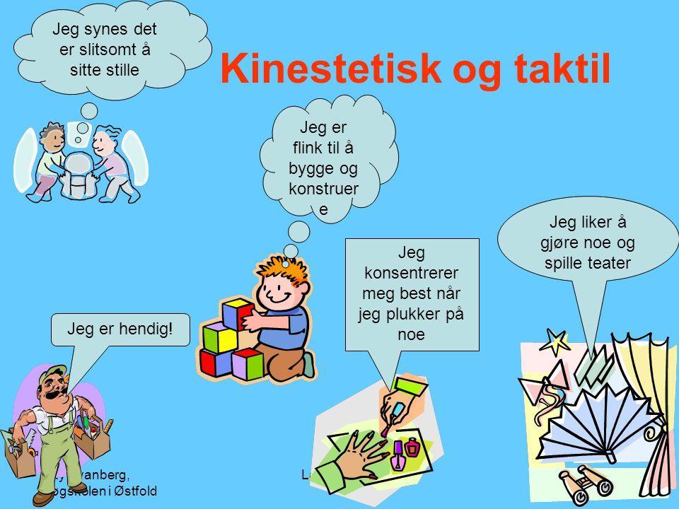 Ray Svanberg, Høgskolen i Østfold Læringsstiler44 Kinestetisk og taktil Jeg synes det er slitsomt å sitte stille Jeg liker å gjøre noe og spille teate