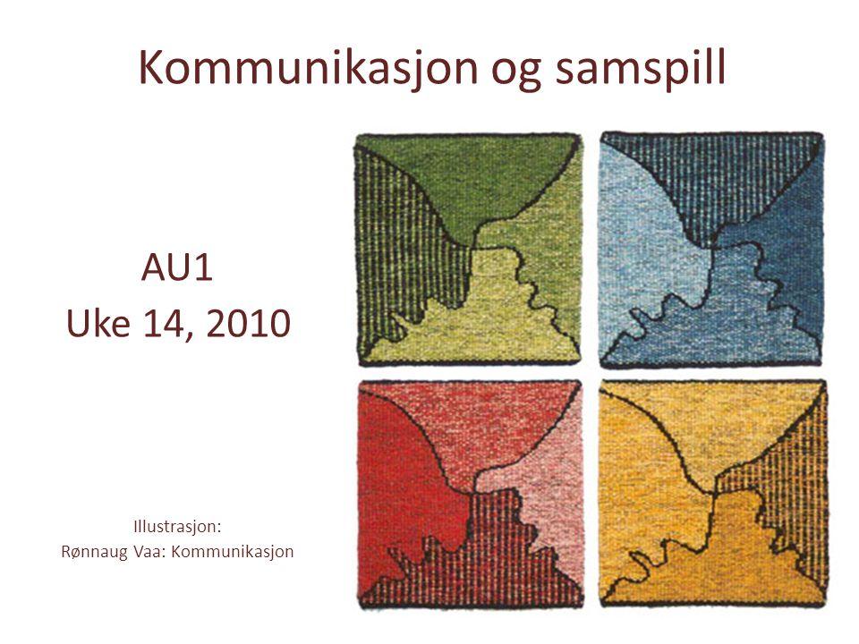 Kommunikasjon og samspill AU1 Uke 14, 2010 Illustrasjon: Rønnaug Vaa: Kommunikasjon