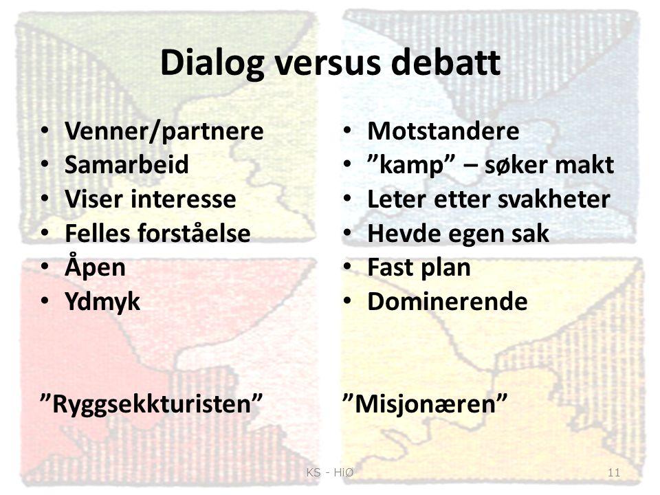 """Dialog versus debatt Venner/partnere Samarbeid Viser interesse Felles forståelse Åpen Ydmyk """"Ryggsekkturisten"""" Motstandere """"kamp"""" – søker makt Leter e"""